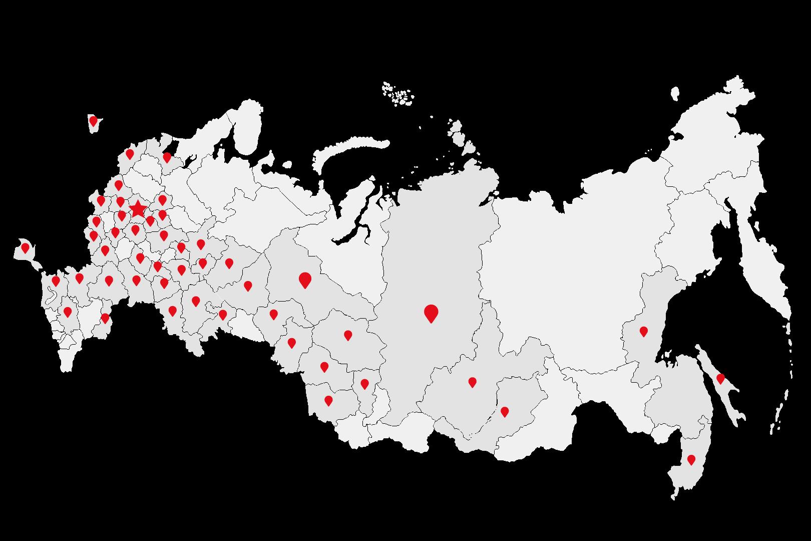 """Карта более 50 филиалов """"ПризываНет"""""""